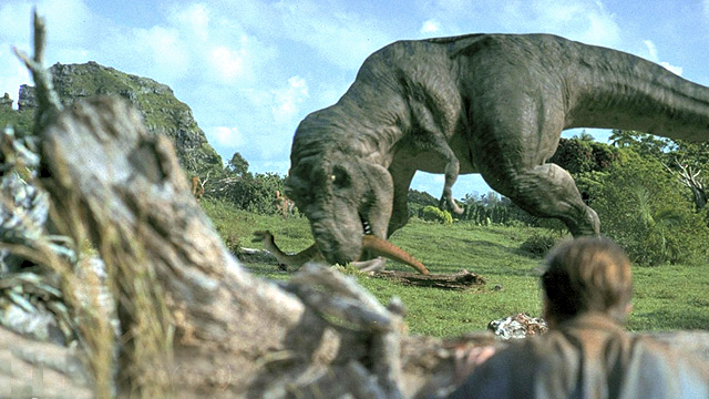 Tyrannosaurus attacking Gallimimus
